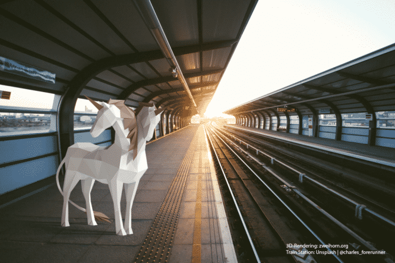 Zweihorn Illustration Bahnhof