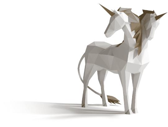 Zweihorn Illustration mit zwei Köpfen
